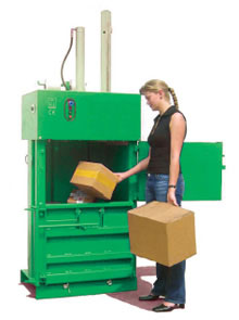 Small single chamber vertical baler